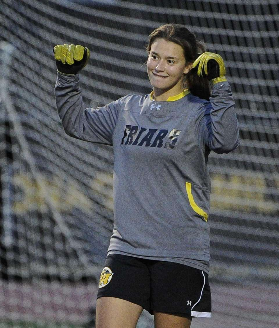 St. Anthony's goalkeeper Kelly DiGregorio reacts as time