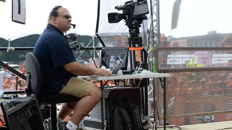 Chris Fallica on the set of College GameDay