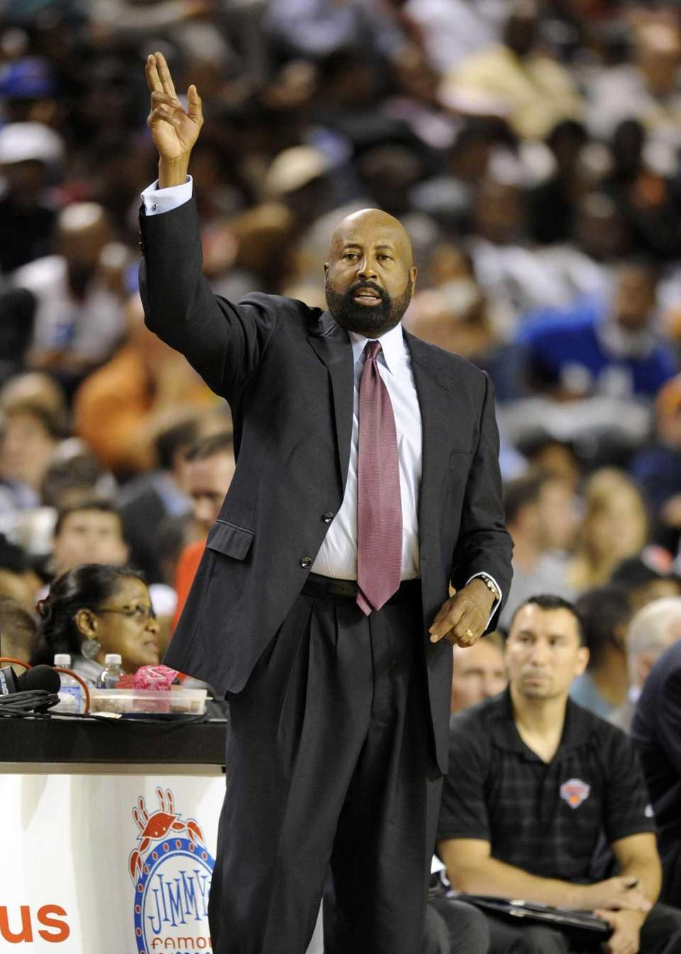 Knicks head coach Mike Woodson gestures during the