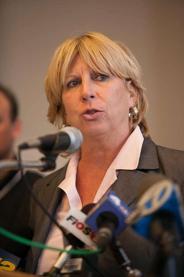 Brookhaven Supervisor Kathleen Walsh speaks during a press