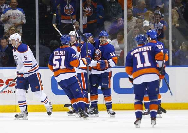 Kyle Okposo of the Islanders celebrates his second