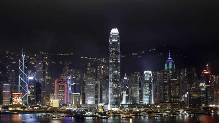 A night view of Hong Kong Island's legendary