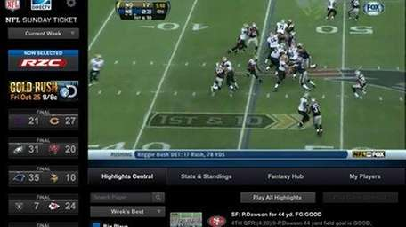 The NFL Sunday Ticket computer tablet app shows