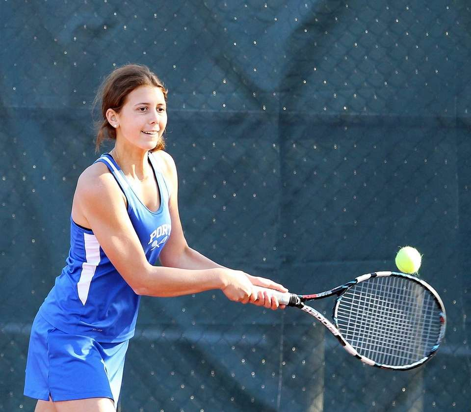 Port Washington's Ally Linder practices before her game