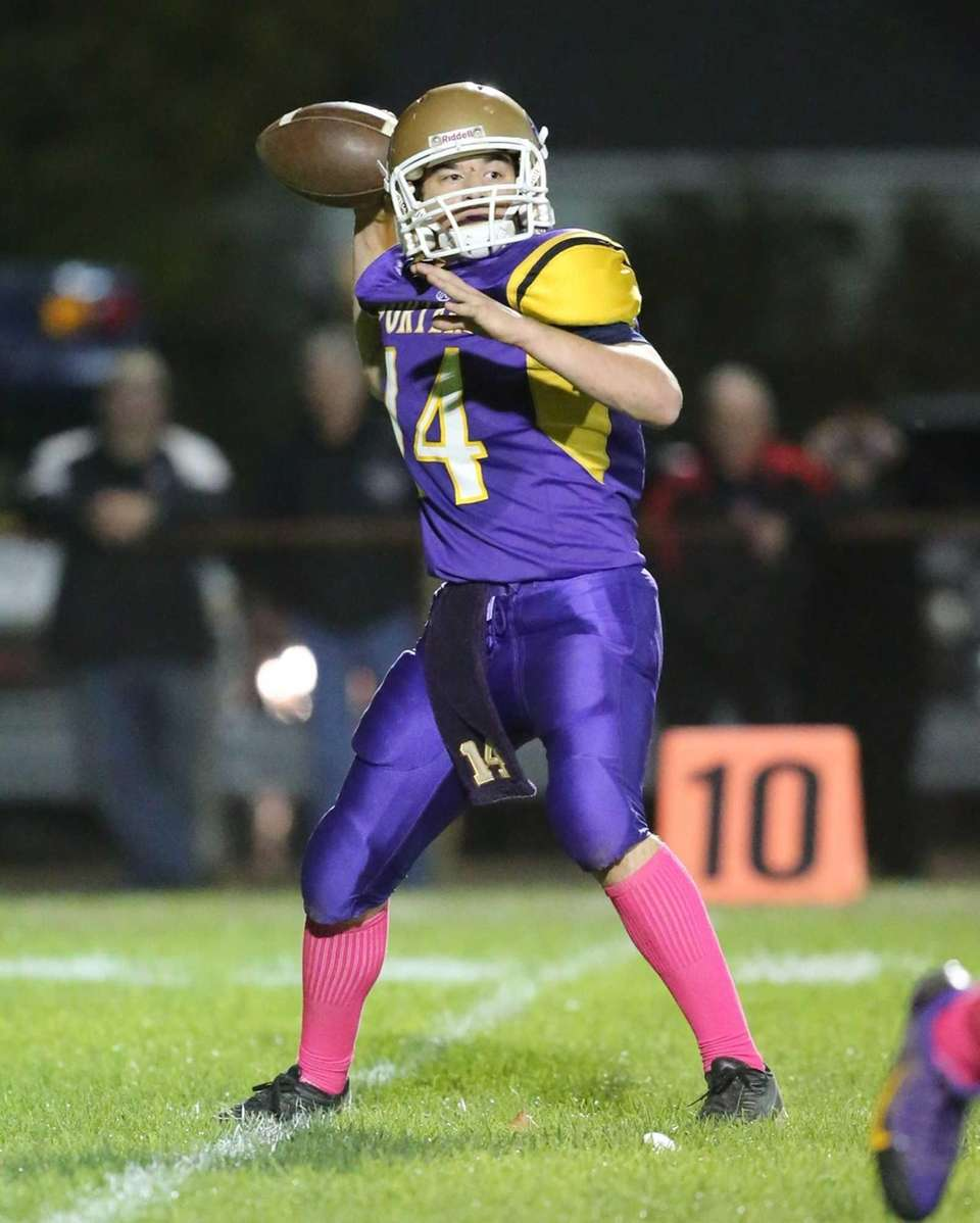 Greenport/Southold quarterback Matt Drinkwater drops back to pass