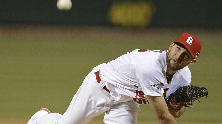 St. Louis Cardinals starting pitcher Michael Wacha throws