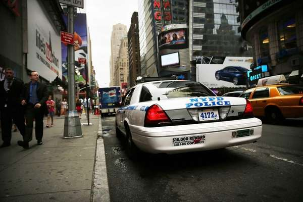 A New York Police Department (NYPD) car sits