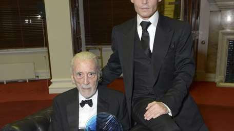 British actor Sir Christopher Lee receives the BFI