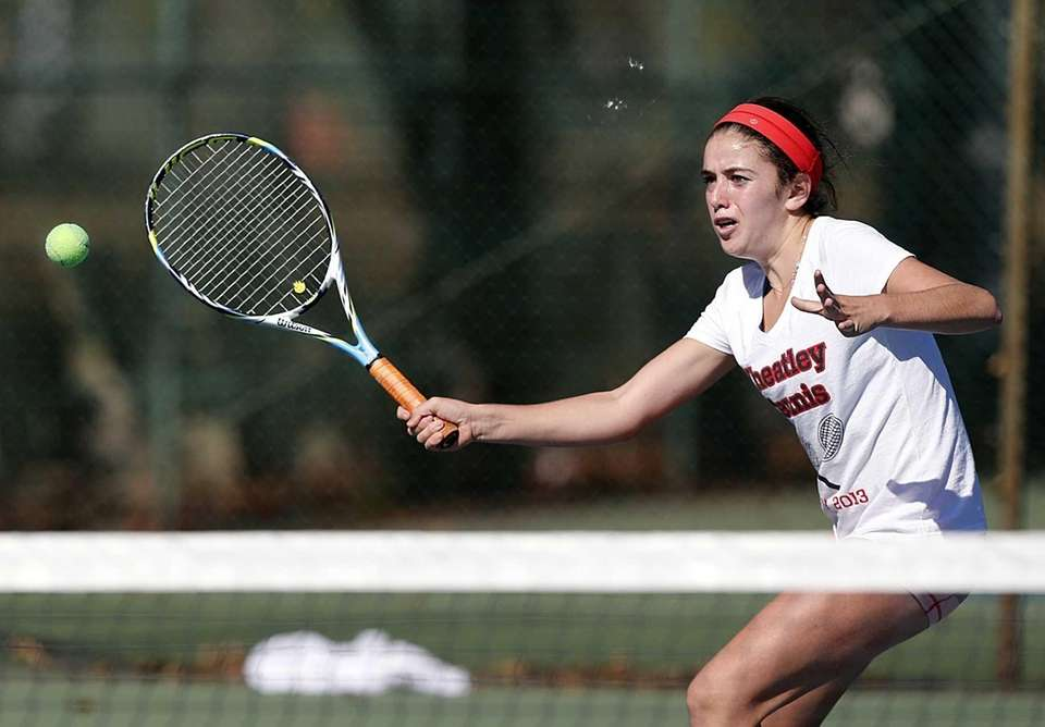 Wheatley's Ashley Lessen with a forehand volley at