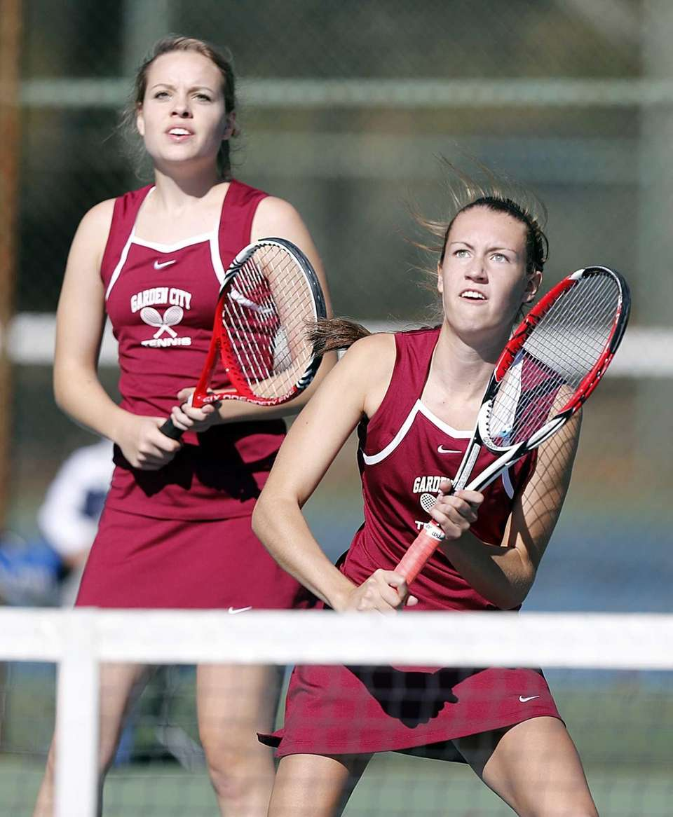 Garden City's Hannah Eilbeck (left) and Brittney Burke