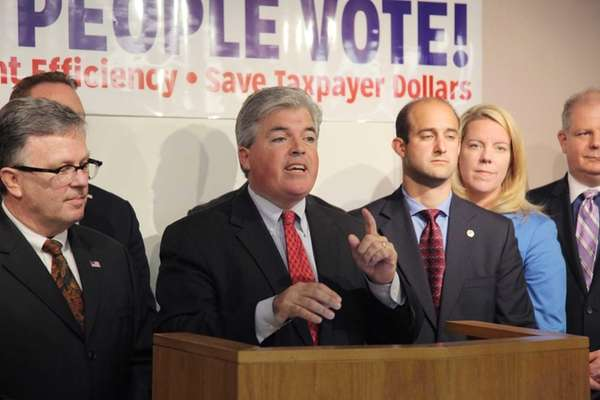 Suffolk County Executive Steve Bellone, joined by Presiding