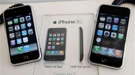 An older Apple iPhone is shown next to