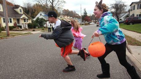 Children trick-or-treating in Smithtown. (Oct. 31, 2012)