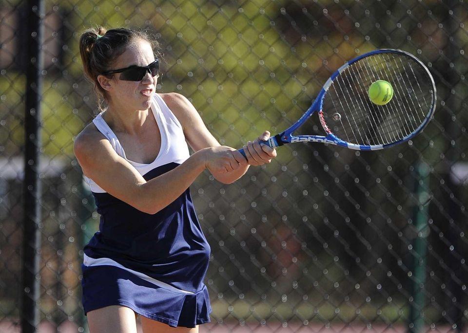 Shoreham-Wading River's Aimee Manfredo returns the ball to