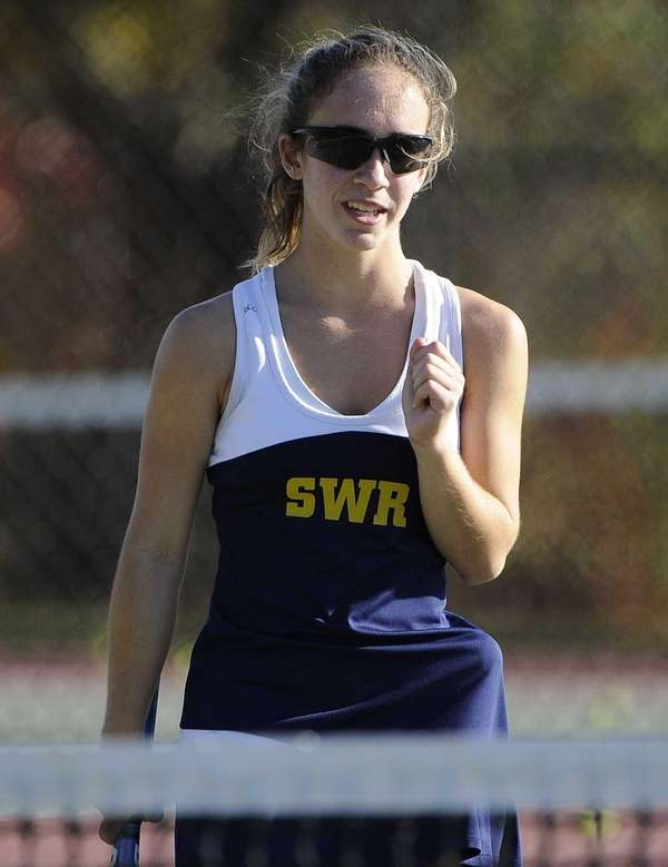 Shoreham-Wading River's Aimee Manfredo reacts as she wins