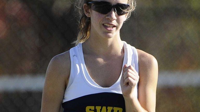 Shoreham-Wading River's Aimee Manfredo reacts as she wins