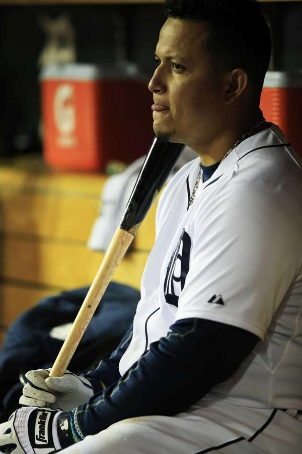 Detroit Tigers third baseman Miguel Cabrera reacts in