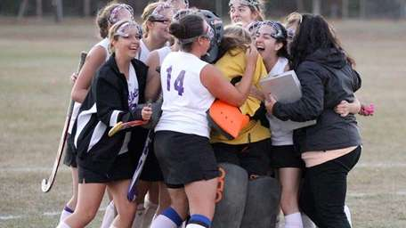 Greenport/Southold celebrates their shootout victory over Harborfields. (Oct.