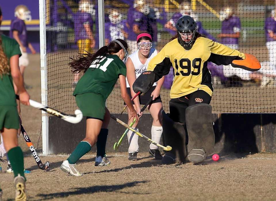 Greenport goalie Brandi Gonzalez makes the point-blank save