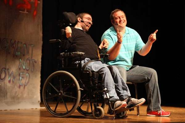 Mike Berkson, left, who has cerebral palsy, and