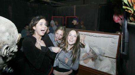 A few girls get spooked at Schmitt's Farm's