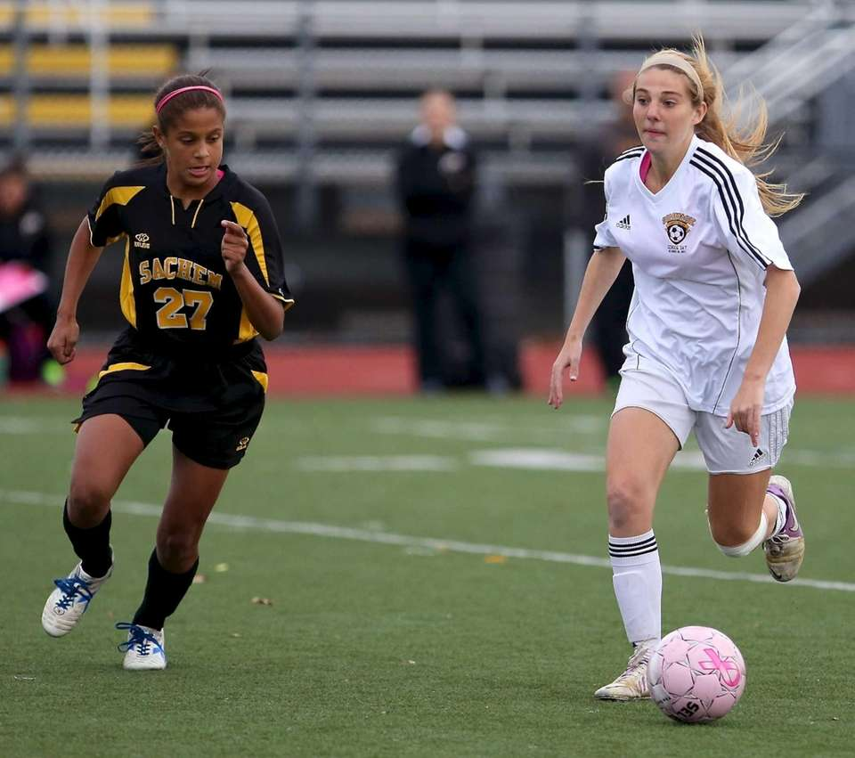 Commack's Jessica Silverman moves the ball upfield as