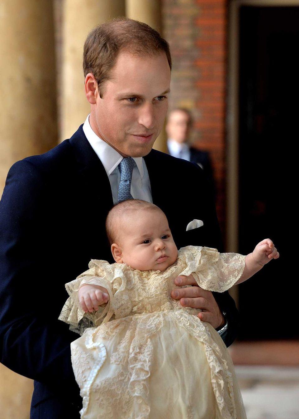 Prince William, Duke of Cambridge arrives, holding his