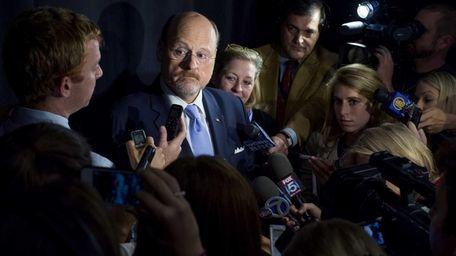 NYC mayoral candidate Joe Lhota speaks after a