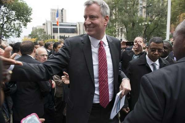 Democratic mayoral candidate Bill de Blasio greets supporters