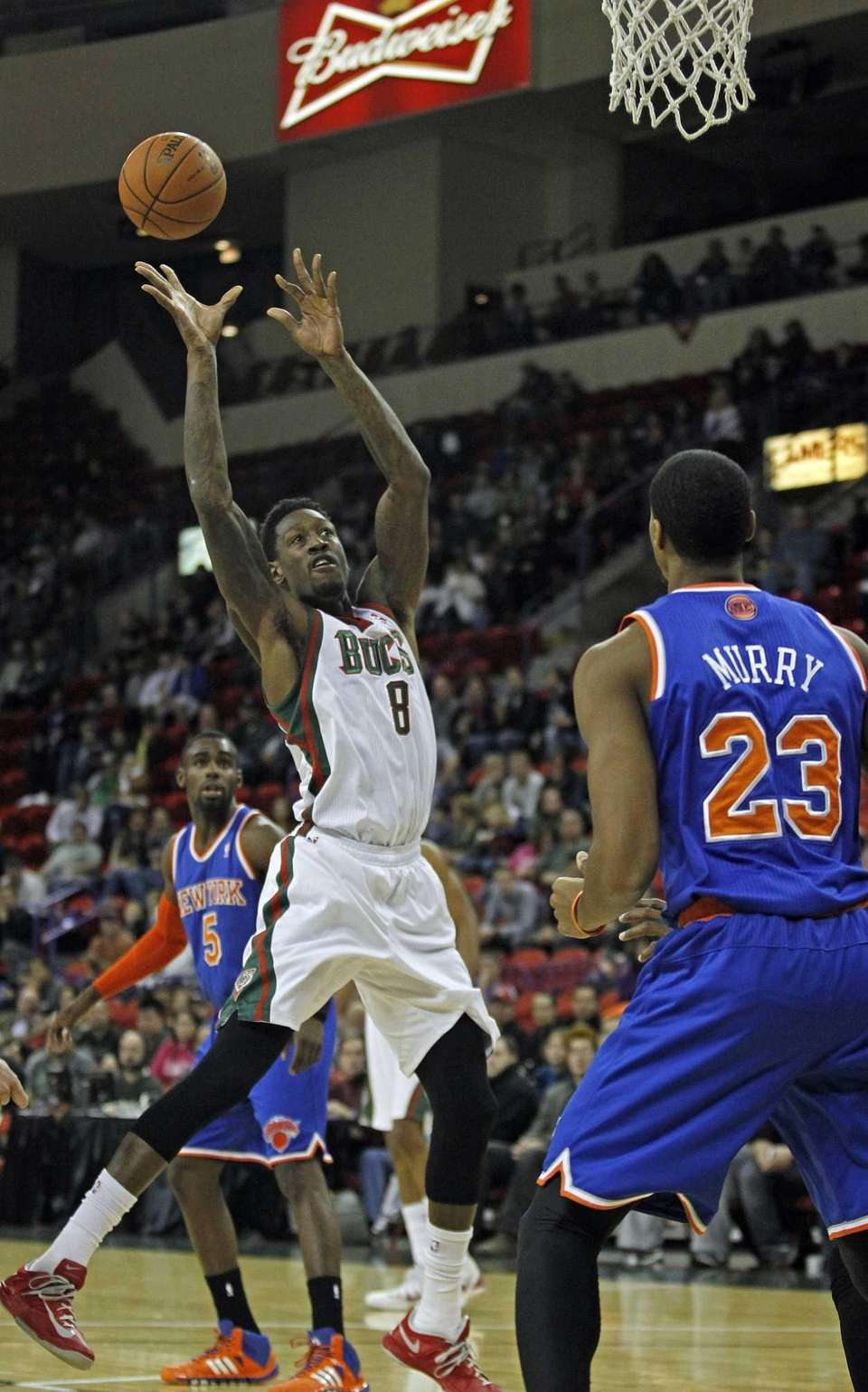 Milwaukee Bucks center Larry Sanders shoots over the
