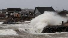 Waves on Block Island Sound caused by superstorm