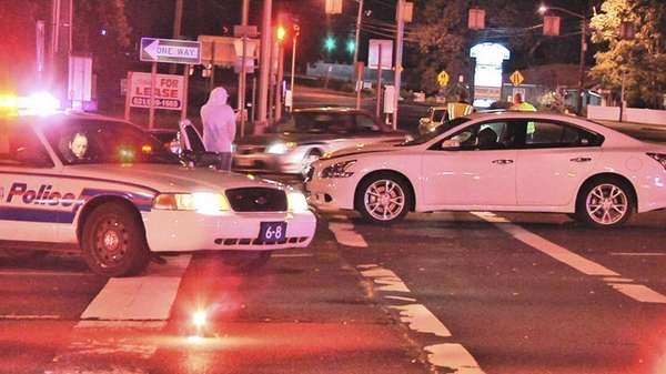 Police at the scene of an accident involving