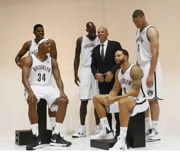 From left, Joe Johnson, Paul Pierce, Kevin Garnett,