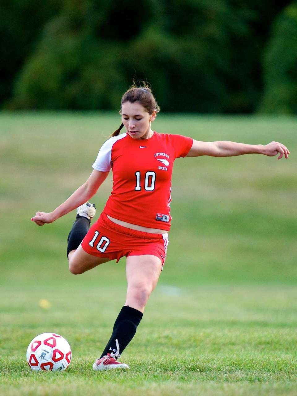 Long Island Lutheran midfielder Katerina Loizou sends the