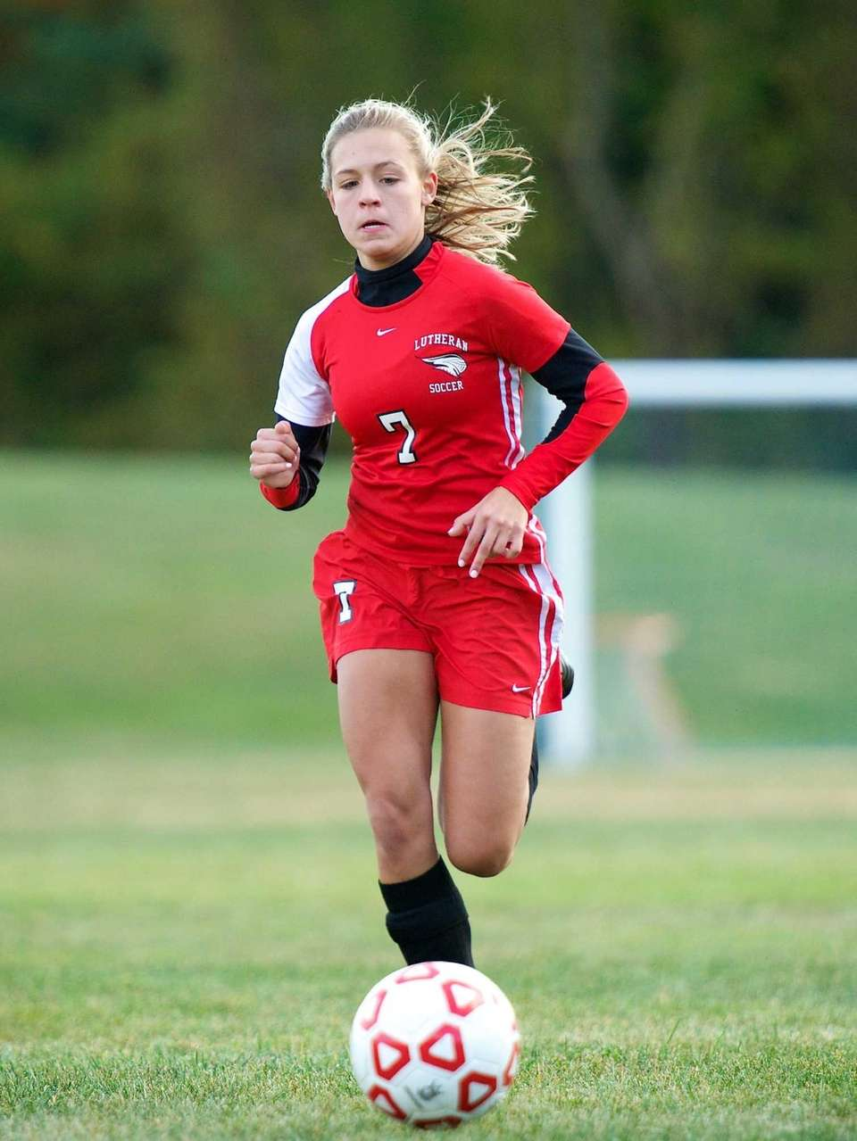 Long Island Lutheran forward Nicole Sinacori chases down