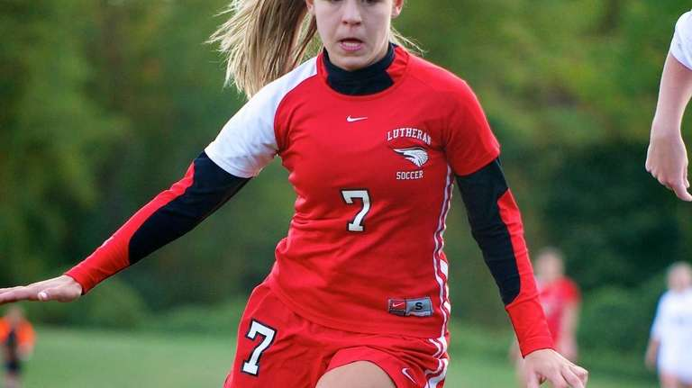 Long Island Lutheran forward Nicole Sinacori controls the