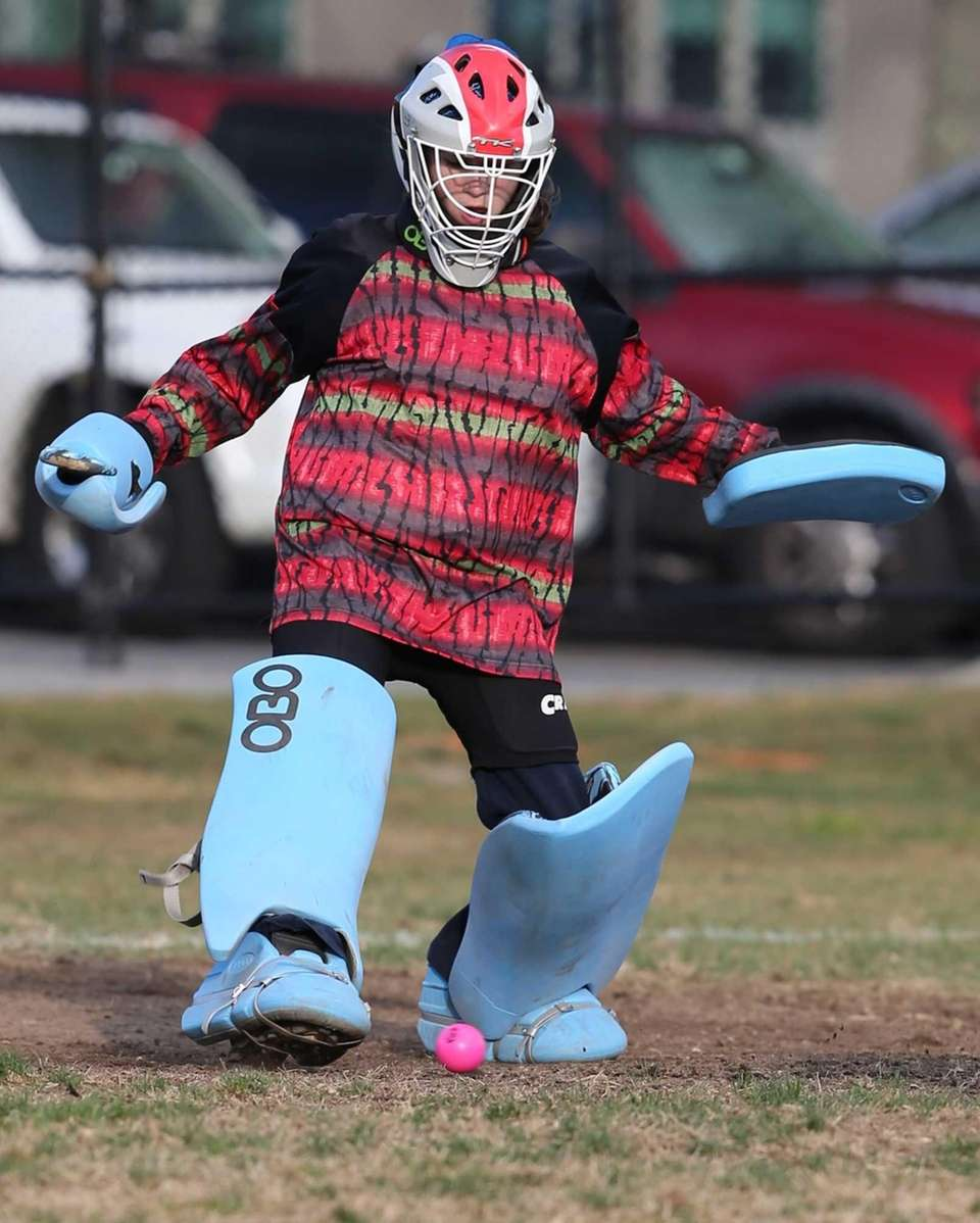 Bayport-Blue Point goalie Meghan Smith makes a save
