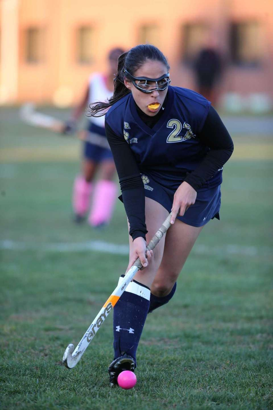Shoreham-Wading River's Alexandra Pagano advances the ball. (Oct.