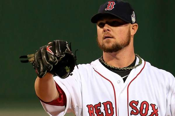 Jon Lester of the Boston Red Sox pitches