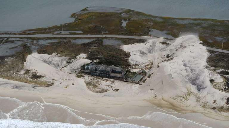 Dune Road in Westhampton had sand washed over