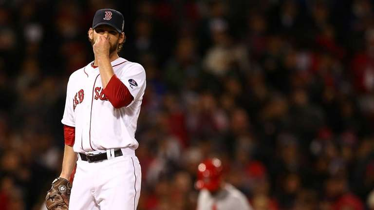 Craig Breslow of the Boston Red Sox reacts