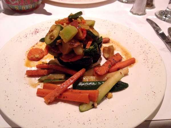 Assorted fresh seasonable vegetables in a light curry