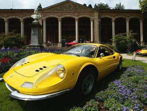 A Ferrari Dino 246 GT, built 1971, sits