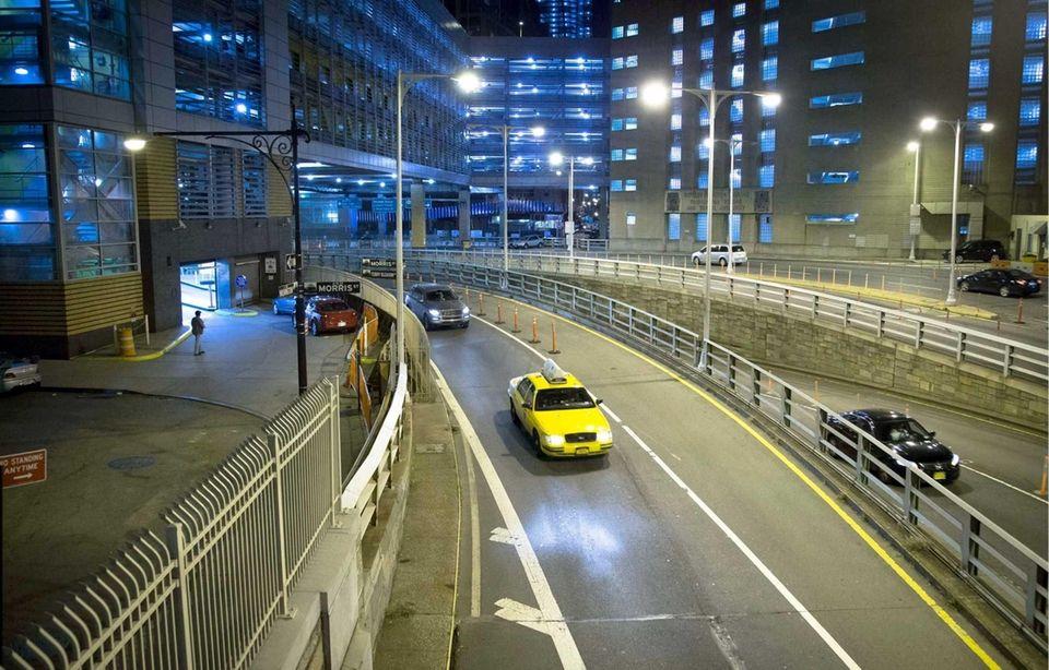 Traffic entering the Brooklyn Battery Tunnel in Manhattan