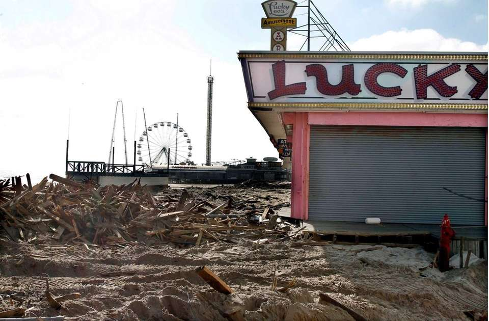 Debris left by superstorm Sandy are shown where