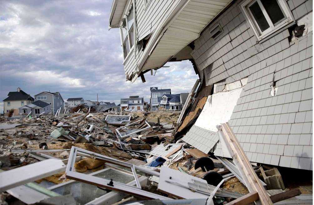Homes destroyed by superstorm Sandy are shown at