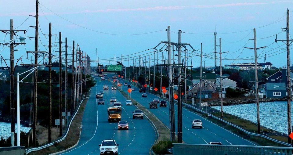 Traffic flows freely in Seaside Heights, N.J., nearly