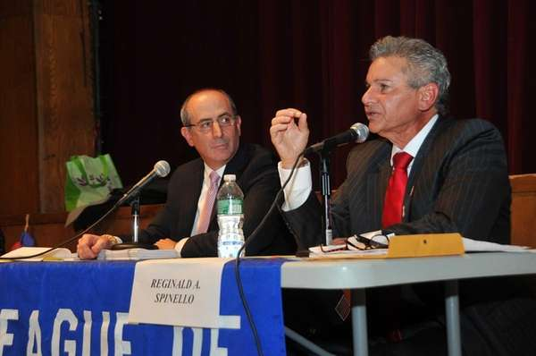 (L-R) Glen Cove Mayor Ralph Suozzi faces off