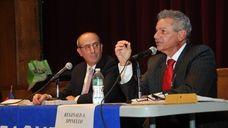 (L-R) Glen Cove Mayor Ralph Suozzi faces off