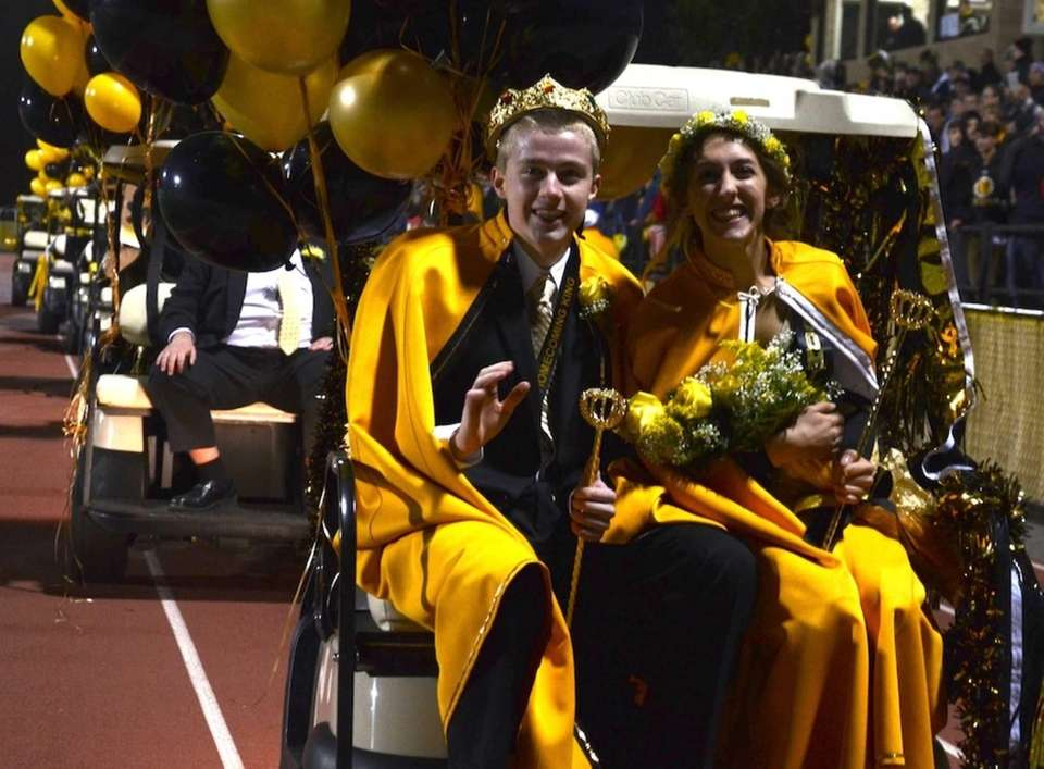 Homecoming king Brendan Cunningham, 17, and queen Elise
